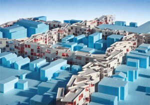Architectural model of proposed street-replacing mixed-use development for Orange, New Jersey