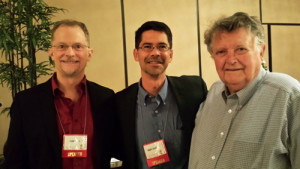 John Lewis, Stuart Gaffney, and Stuart's dad, Mason. Another conference highlight was its opening reception, during which Prof. Gaffney debuted his new collection, The Mason Gaffney Reader, and signed copies.