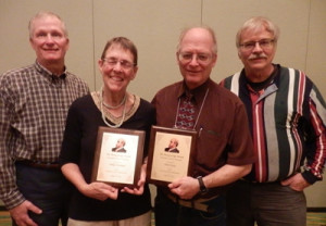 "Winners of the 2016 Economic Justice Awards were Polly Cleveland (Educator) and Paul Justus (""Unsung Hero"") presented by Ed Dodson and Dan Sullivan"