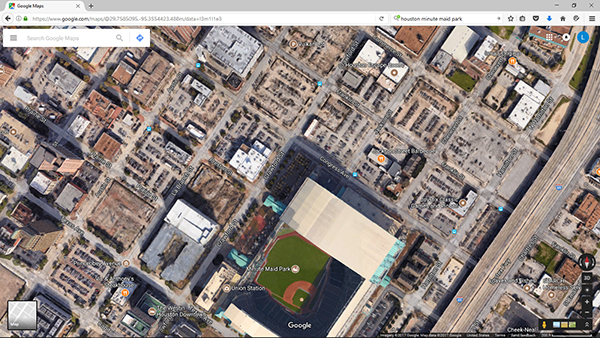 Here is a Google Maps image of center-city Houston. Minute Maid Park is where the Houston Astros play these days (the Astrodome has been idle since 2002, except for temporarily housing victims of Hurricane Katrina in 2005). The building to the right of the search bar is an eight-story parking garage. Another one could replace seven of those surface lots!