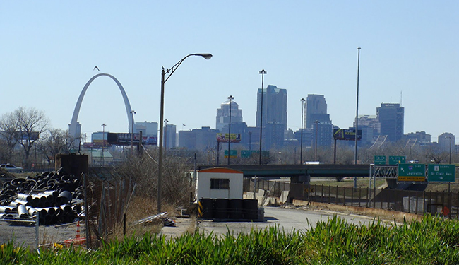 Looking across the Mississippi from East St. Louis
